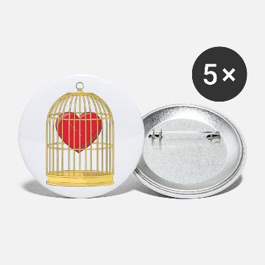 Caged CAGED HEART - HEART IN A GOLDEN CAGE - Small Buttons