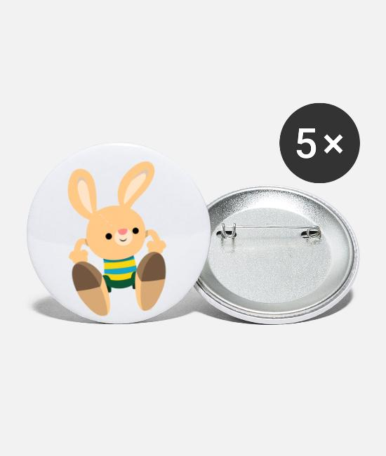 Happy Buttons & Pins - Cute Leaping Cartoon Rabbit by Cheerful Madness!! - Small Buttons white