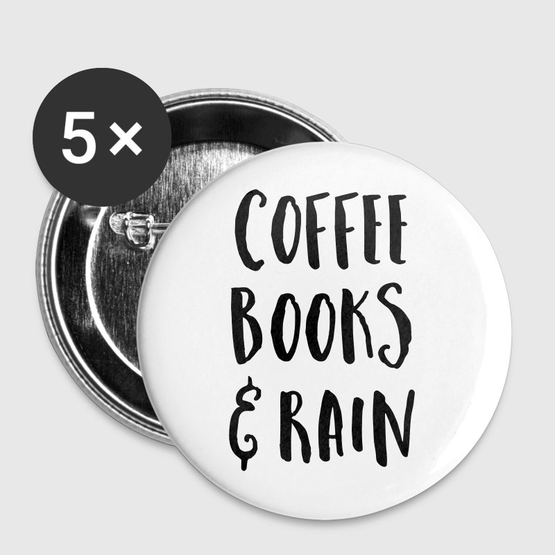 Coffee, Books & Rain Quote - Small Buttons