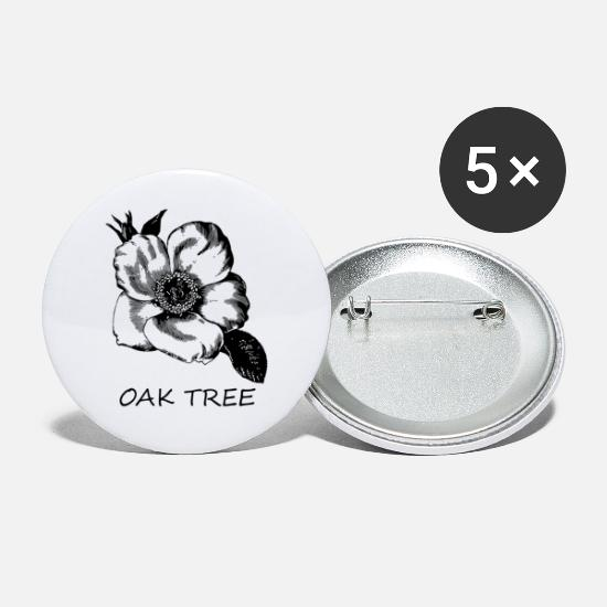Hippie Buttons - Wrong Flower Oak Tree - Small Buttons white