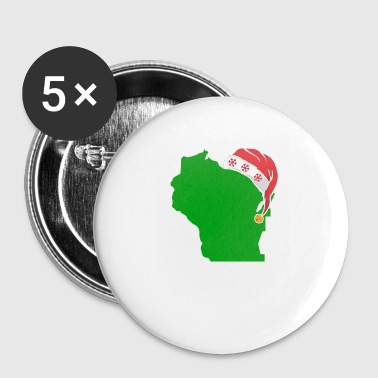 Wisconsin Christmas Cute Christmas Gift Green US State - Small Buttons