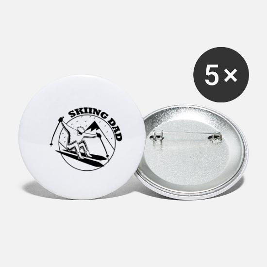 Freestyle Buttons - Ski Skiing Skier Ski club Ski holidays - Small Buttons white