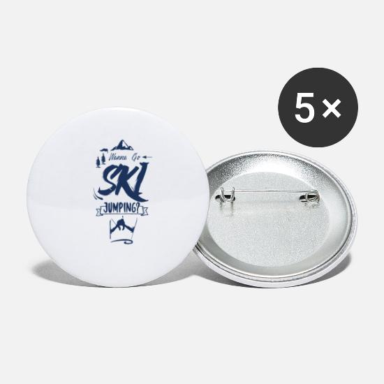 Ski Jumping Buttons - Ski Jumper Ski Jump Ski Jumping Wintersports Skier - Small Buttons white