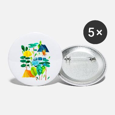 Campground Campground and campfire, time for holidays - Small Buttons