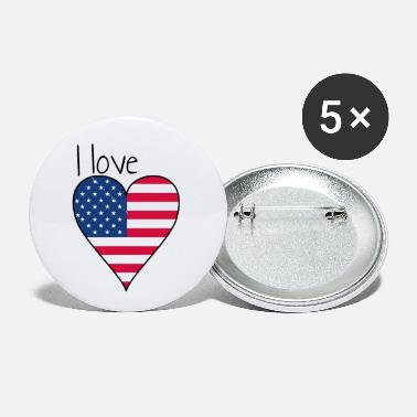 My Favorite Country I love america! Gift, USA, Heartbeat - Small Buttons