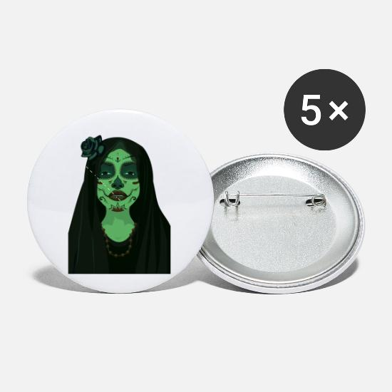Makeup Buttons - Day Of The Dead Girl Design - Small Buttons white
