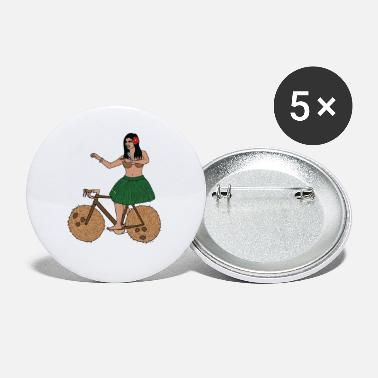 Hula Dancer Hula Dancer Riding Bike With Coconut Wheels - Small Buttons