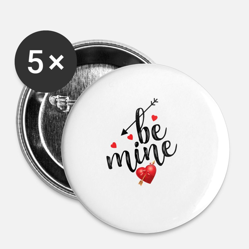 Valentine's Day Buttons - Be Mine Valentines - Small Buttons white