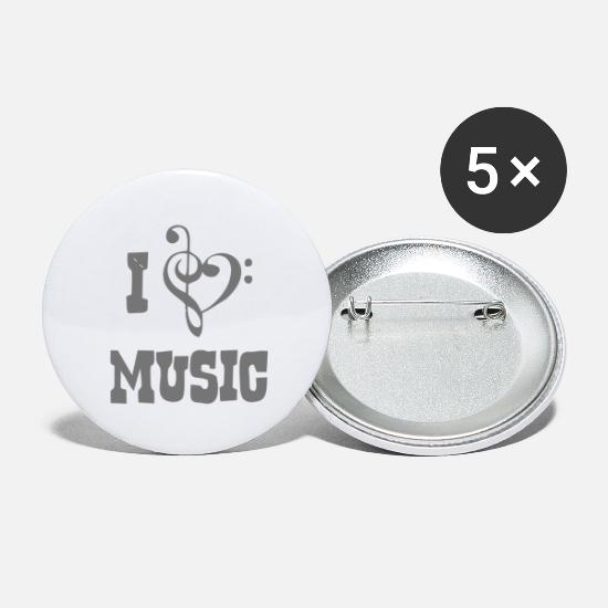 Music Buttons - I Love Music - Small Buttons white