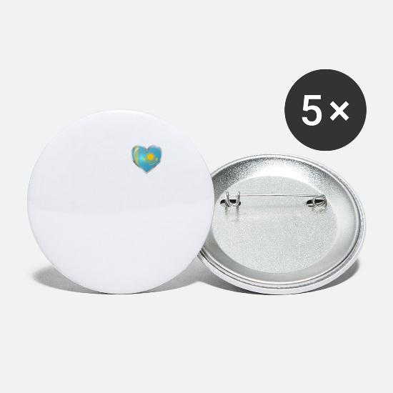 Love Buttons - I Love Kazakhstan Heartbeat Kazakh Pride Shirt - Small Buttons white