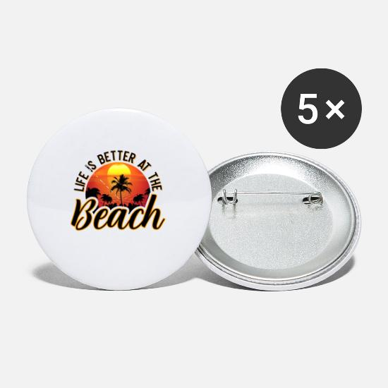 Gift Idea Buttons - Life is better at the beach Summer Sun Holiday - Small Buttons white