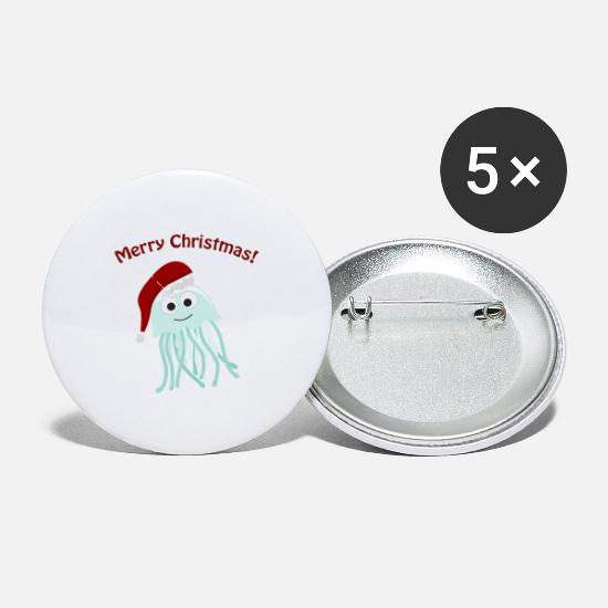 Christmas Present Buttons - Christmas cephalopod 8 - Small Buttons white