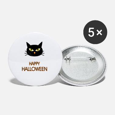 Black Cat Head Happy Halloween - Small Buttons
