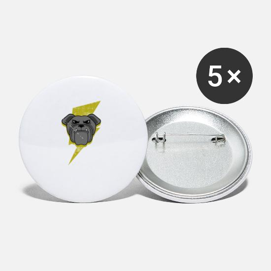 Pet Buttons - Lightning English Bulldog Graphic - Small Buttons white