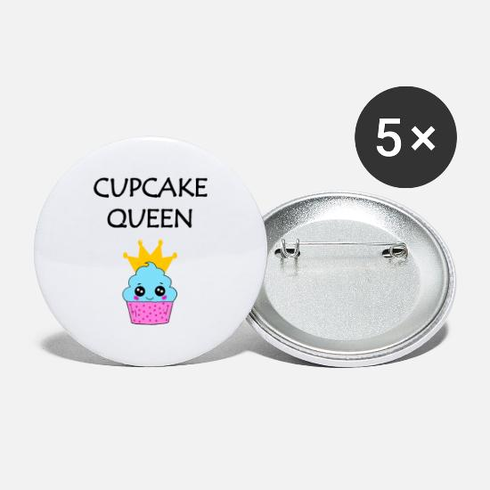 Pink Buttons - happy smiling cupcake queen with a golden crown - Small Buttons white