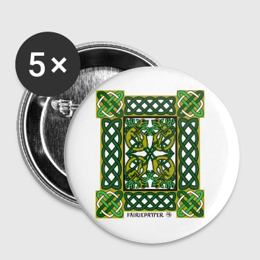 Fairie Patter - Celtic Hounds in Green - Small Buttons