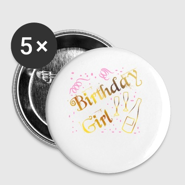 Girls birthday celebrating with great shirt - Small Buttons