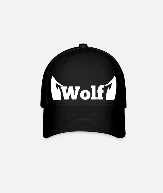 Cute Caps & Hats - wolf in type with cute ears - Baseball Cap black