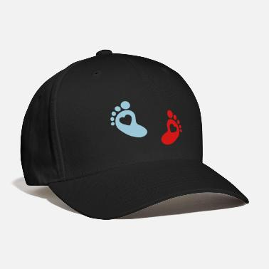 Girl baby - footprint - heart - Baseball Cap