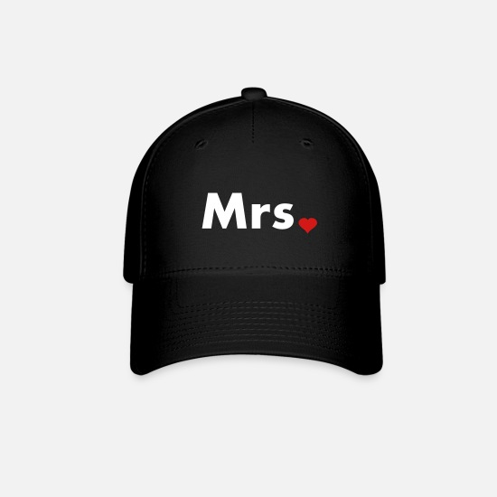 Couples Caps - Mrs with heart dot - part of Mr and Mrs set - Baseball Cap black