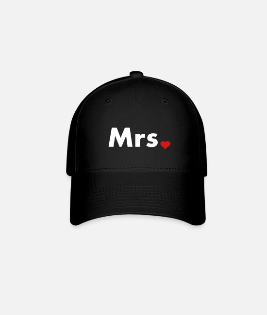 Engagement Caps & Hats - Mrs with heart dot - part of Mr and Mrs set - Baseball Cap black