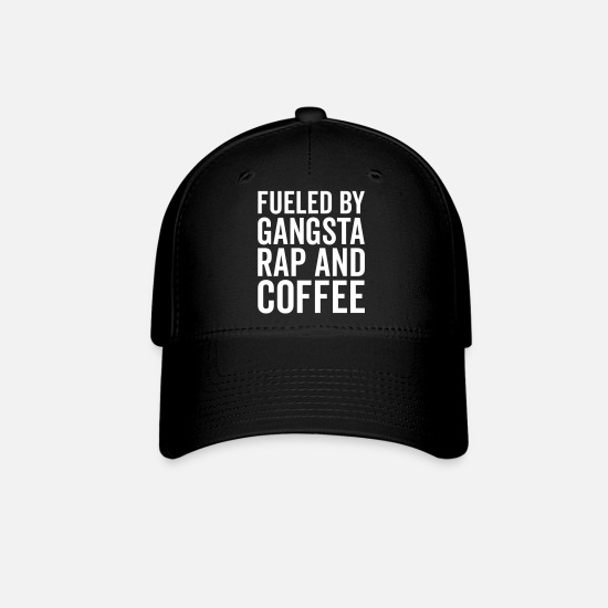 Gangsta Caps - Gangsta Rap And Coffee Funny Quote - Baseball Cap black