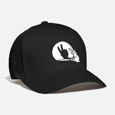 Puppetry Funny rabbit hare shadow hand victory peace V sign - Baseball Cap