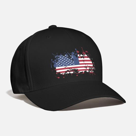 Patriot Caps - USA Splatter Flag - Baseball Cap black