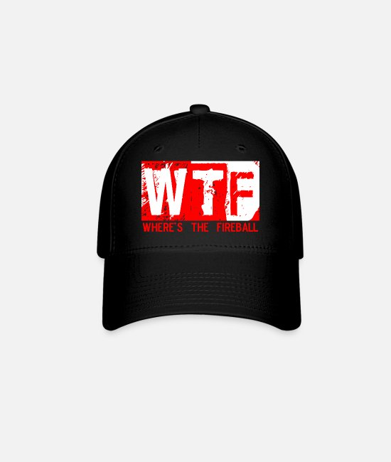 Red Caps & Hats - WTF WHERE'S THE FIREBALL trendy college frat party - Baseball Cap black