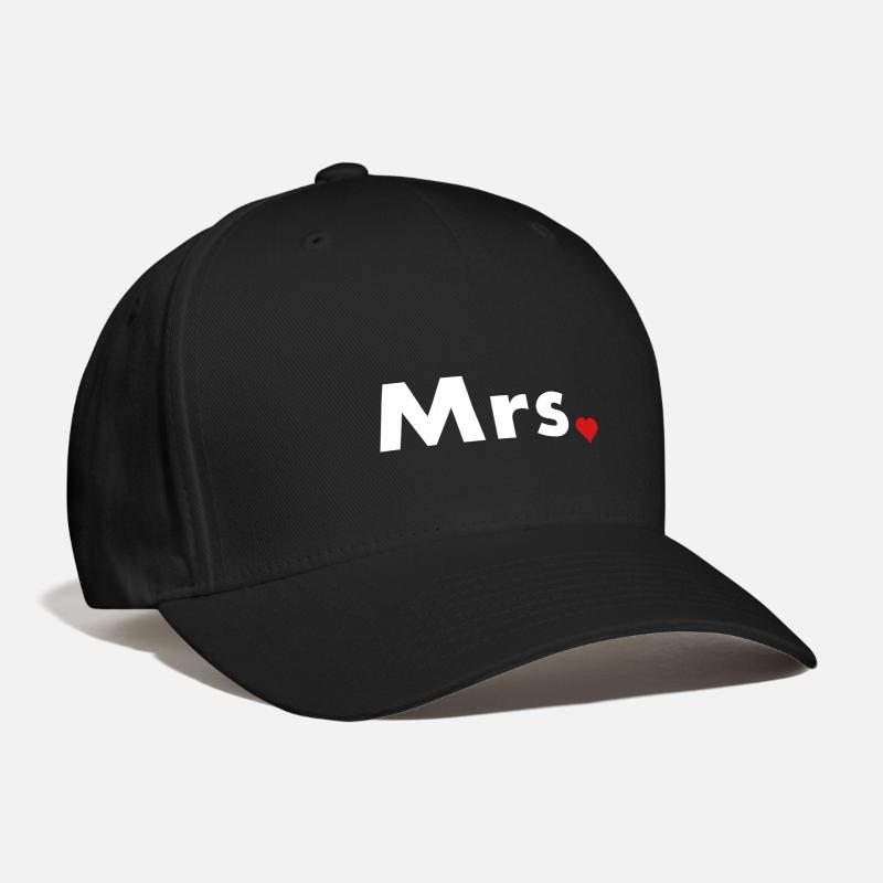 Mr And Mrs Caps - Mrs with heart dot - part of Mr and Mrs set - Baseball Cap black