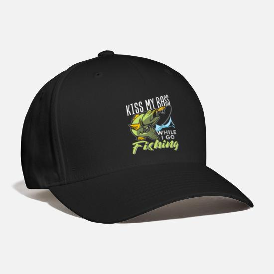 Fishing Caps - Kiss My Bass While I Go Fishing - Baseball Cap black