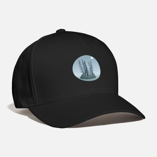 Forest Caps - Pine Tree Island - Baseball Cap black
