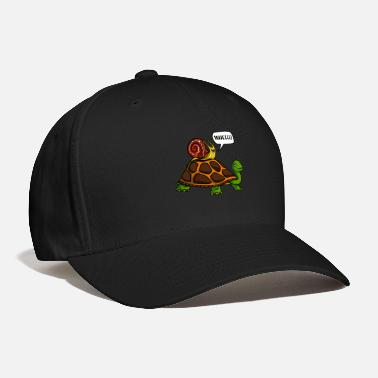 Snail Riding Turtle Snail Riding Turtle Funny Animals Race - Baseball Cap