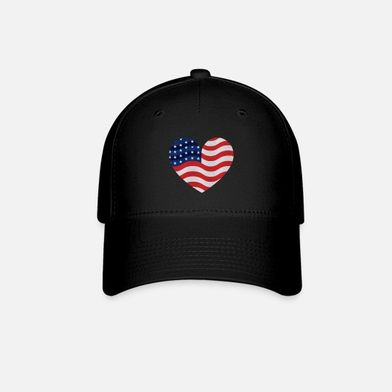 American Football Caps - AMERICA USA Fun Heart Mister Present idea - Baseball Cap black