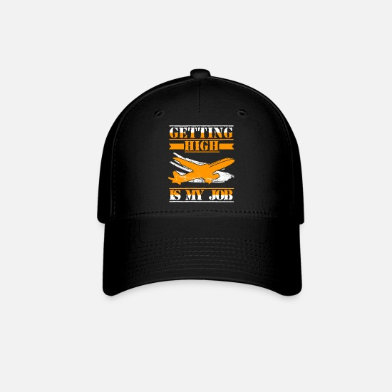 Airplane Aircraft Commercial Pilot Job Title Baseball Cap - black
