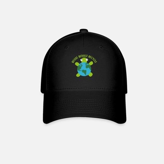 Earth Day Caps - Reduce Reuse Recycle Turtle -Save Earth Ocean - Baseball Cap black