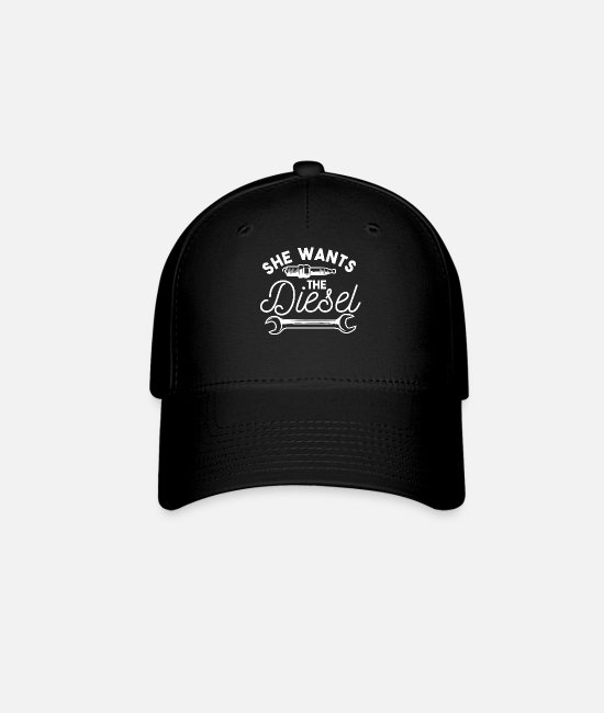 Trucks Caps & Hats - She Wants the Diesel Mechnic funny shirt motif - Baseball Cap black