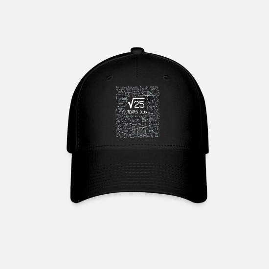 Formula Caps - Square Root of 25 - 5 Years Old Bday Geek Design - Baseball Cap black