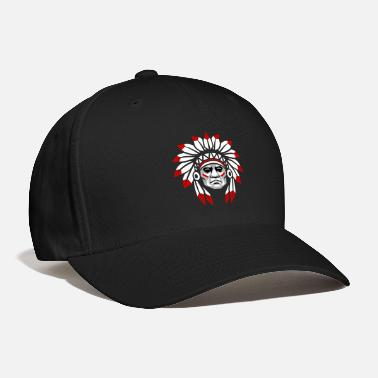Indians white_red_plumage_american_indian_colored - Baseball Cap