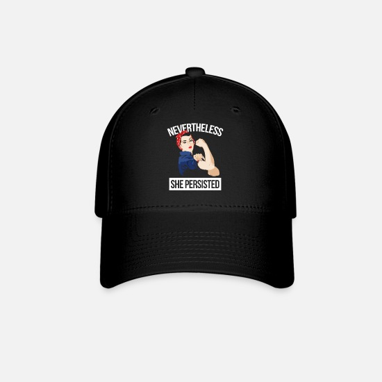 Women's Day Caps - She Persisted Nevertheless - Baseball Cap black