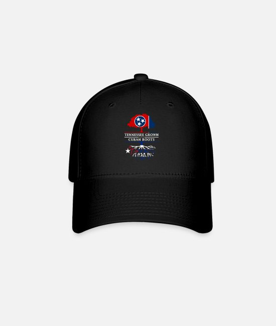Usa Caps & Hats - Tennessee Grown with Cuban Roots Cuba Design - Baseball Cap black