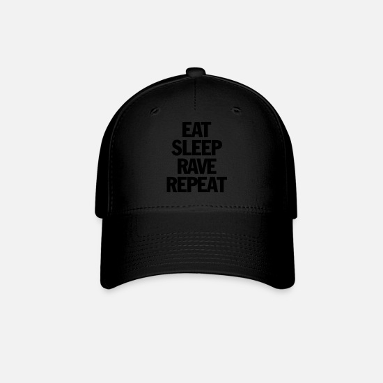 Raven Caps - Eat Sleep Rave Repeat - Baseball Cap black