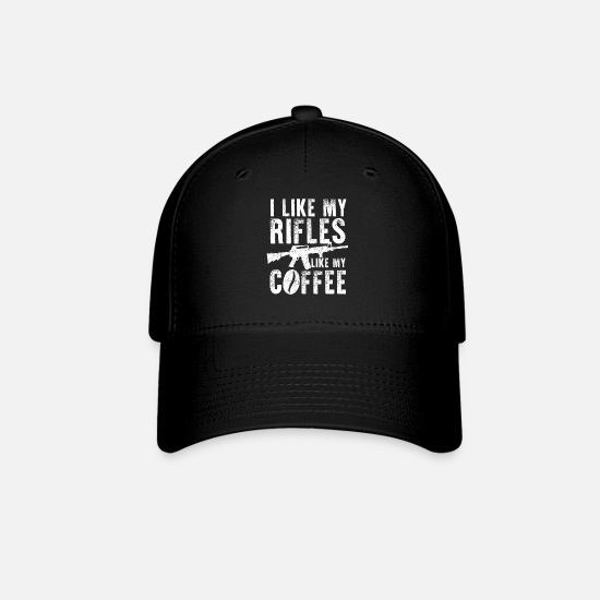 Machine Gun Caps - I like my rifles like my coffee - Baseball Cap black