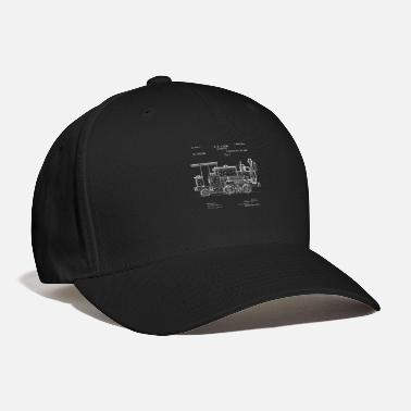 Locomotive Patent Print 1886 Locomotive Steam Train - Baseball Cap