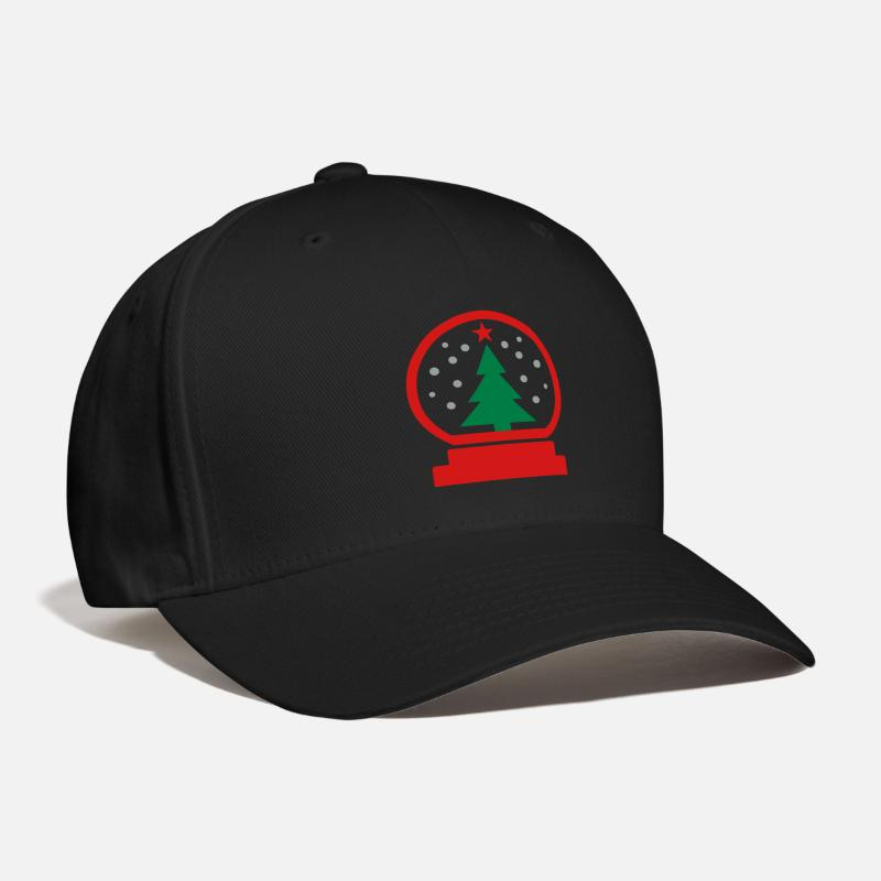 Snow Caps - christmas - ball - tree - Baseball Cap black