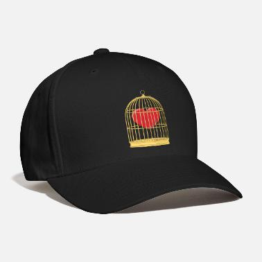 Caged CAGED HEART - HEART IN A GOLDEN CAGE - Baseball Cap