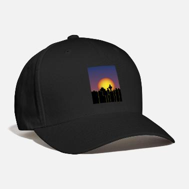 City At Night moon is rising - Baseball Cap