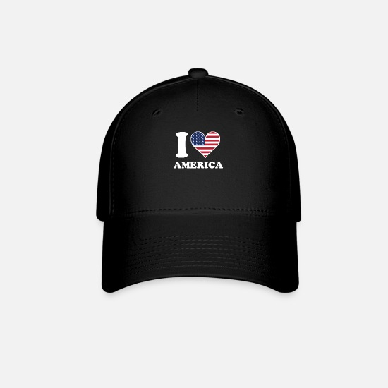 Love Caps - I Love America American Flag Heart - Baseball Cap black