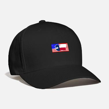 Texan Texan Flag Over The USA Flag - Baseball Cap