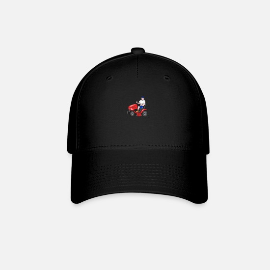 Animal Caps - Gardener Mowing Rideon Lawn Mower Cartoon - Baseball Cap black
